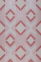 Wallpaper Allegra Matt Art Deco Geometrical elements Rosewood Pale pink Brown red Matt silver