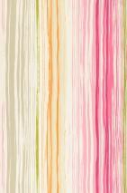 Tapete Cosima Matt Streifen Cremeweiss Braunbeige Erikaviolett Gelbgrün Hellgraubeige Orange Pink