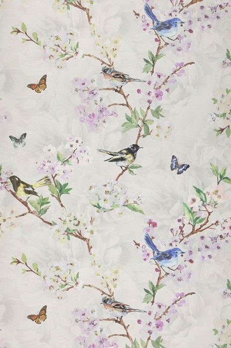 Wallpaper Helika Matt Butterflies Birds Branches with leaves and blossoms Grey white Pale yellow Blue Brown Green Red purple