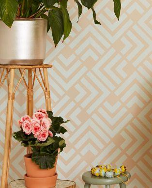 Papel pintado Levitus marrón beige claro Ver habitación