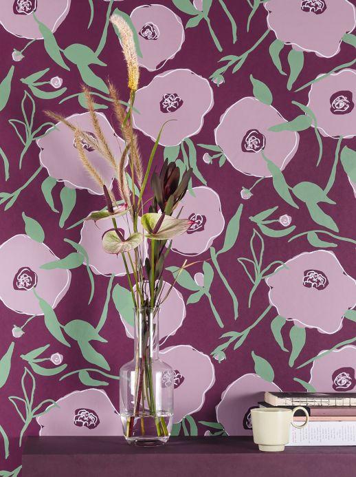 Papel pintado floral Papel pintado Kanoko violeta pastel Ver habitación