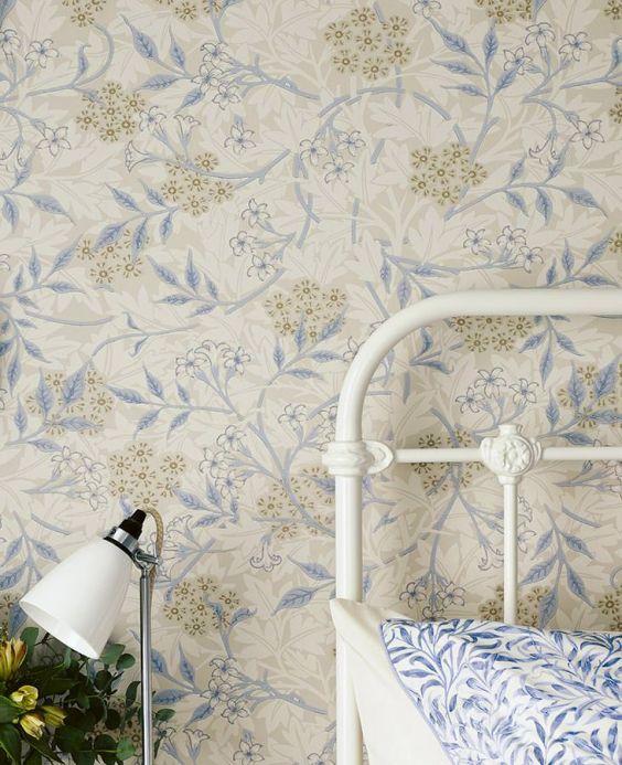 Papel de parede botânico Papel de parede Marlene bege acinzentado claro Ver quarto
