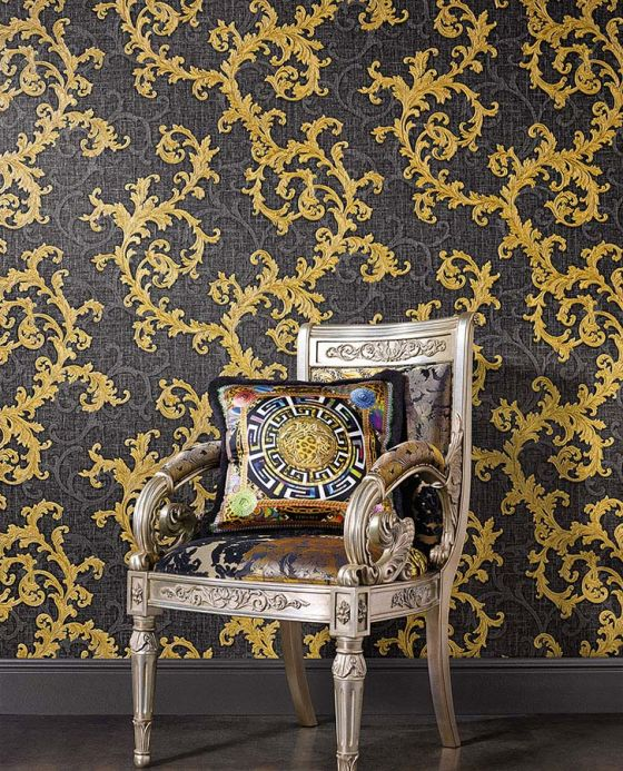 Damask Wallpaper Wallpaper Gloriosa pearl gold Room View