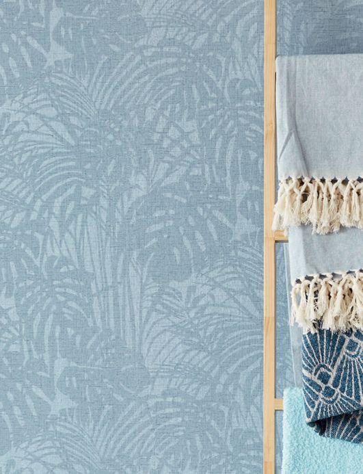Carta da parati perline di vetro Carta da parati Persephone blu pastello scintillante Visuale camera