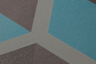 Wallpaper Hirolanit Matt Geometrical elements Hexagons Beige grey Dark grey brown glitter Grey brown Turquoise glitter
