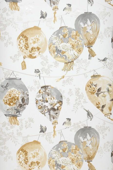 Wallpaper Japanese Laterns Matt Lanterns Birds Cream Beige Beige grey Cream shimmer Grey Ochre yellow