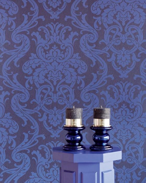 Wallpaper Maradila Matt Baroque damask Cobalt blue Blue