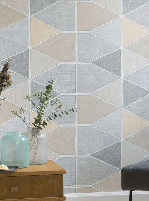 Geometric Wallpaper Wallpaper Enzo pale brown Room View