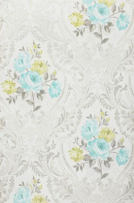 Wallpaper Meoni Matt Flowers Floral damask Grey white Fern green Light grey Pastel turquoise Silver grey shimmer