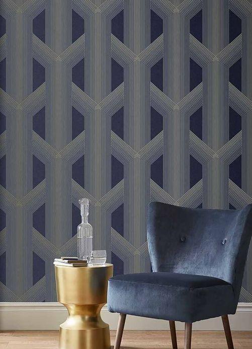 Geometric Wallpaper Wallpaper Nama steel blue Room View