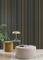 Wallpaper Tekin Matt Stripes Black Golden yellow Grey blue Turquoise blue shimmer