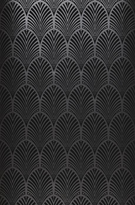 Papel de parede damasco Papel de parede Lyria cinza escuro brilhante Largura do rolo