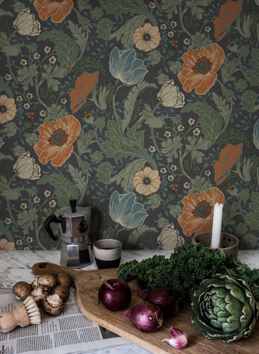 Wallpaper Soria Matt Flower tendrils Anthracite Azure blue Grey white Pine green Clay-brown Pastel green