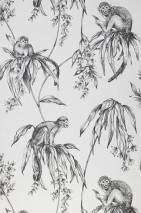 Wallpaper Lunar Matt Monkeys Branches with leaves and blossoms Grey white Black grey