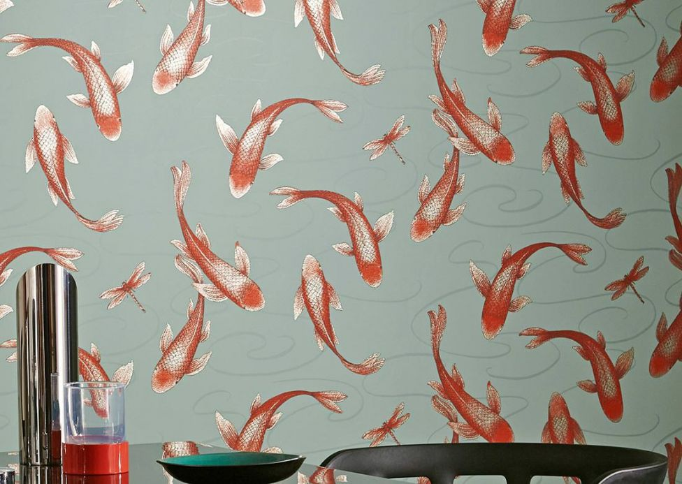 Archiv Wallpaper Drusilla red-orange glitter Room View