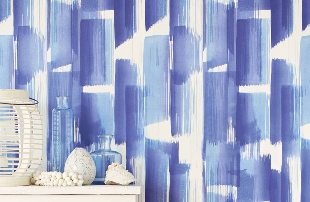 Striped Wallpaper Wallpaper Pandero shades of blue Room View