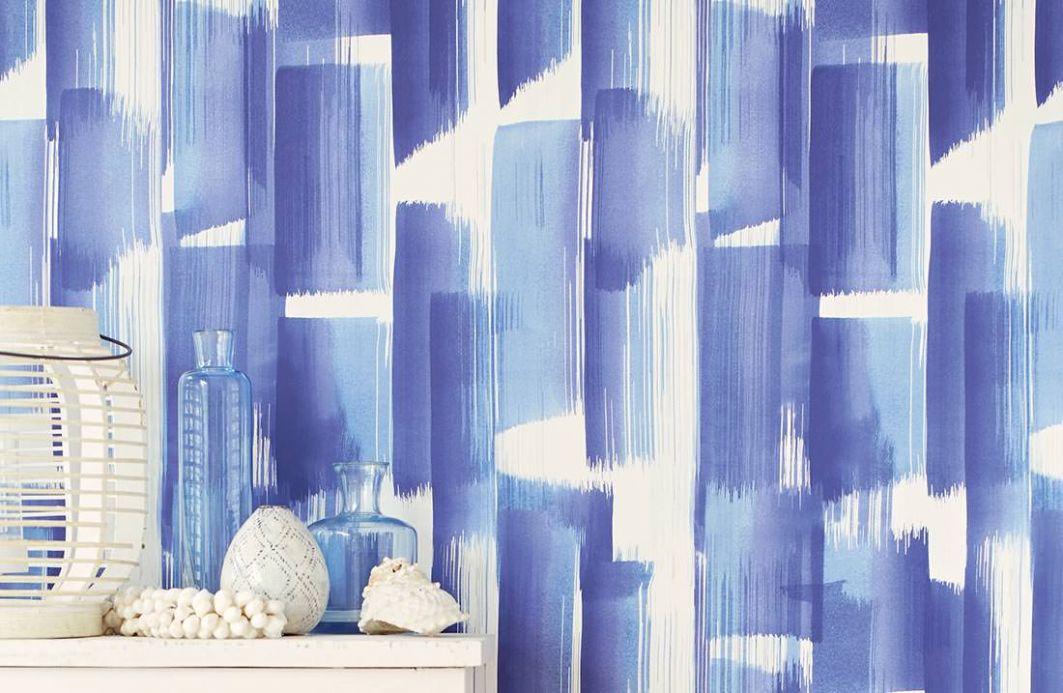 Papel pintado rayas Papel pintado Pandero tonos de azul Ver habitación