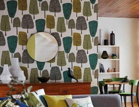 Wallpaper Davila Matt Trees Cream Anthracite Grey Green Green yellow Olive grey
