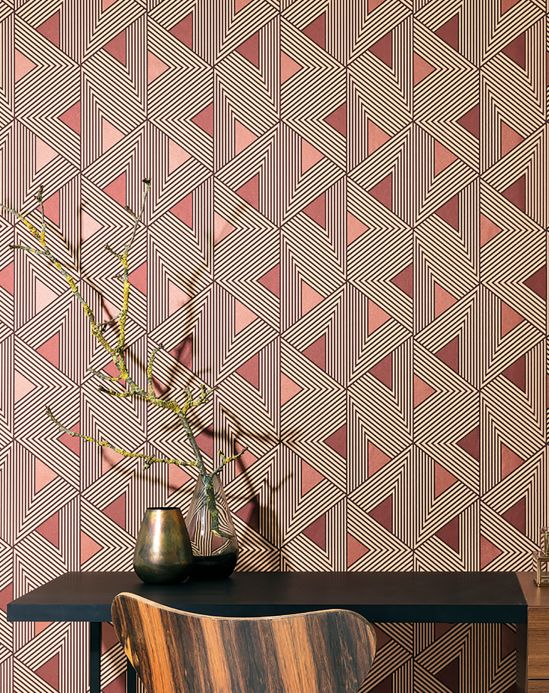 Geometric wallpaper Wallpaper Elias brown tones Room View