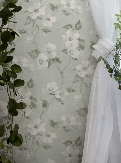 Florale Tapeten Tapete Nellie Achatgrau Raumansicht