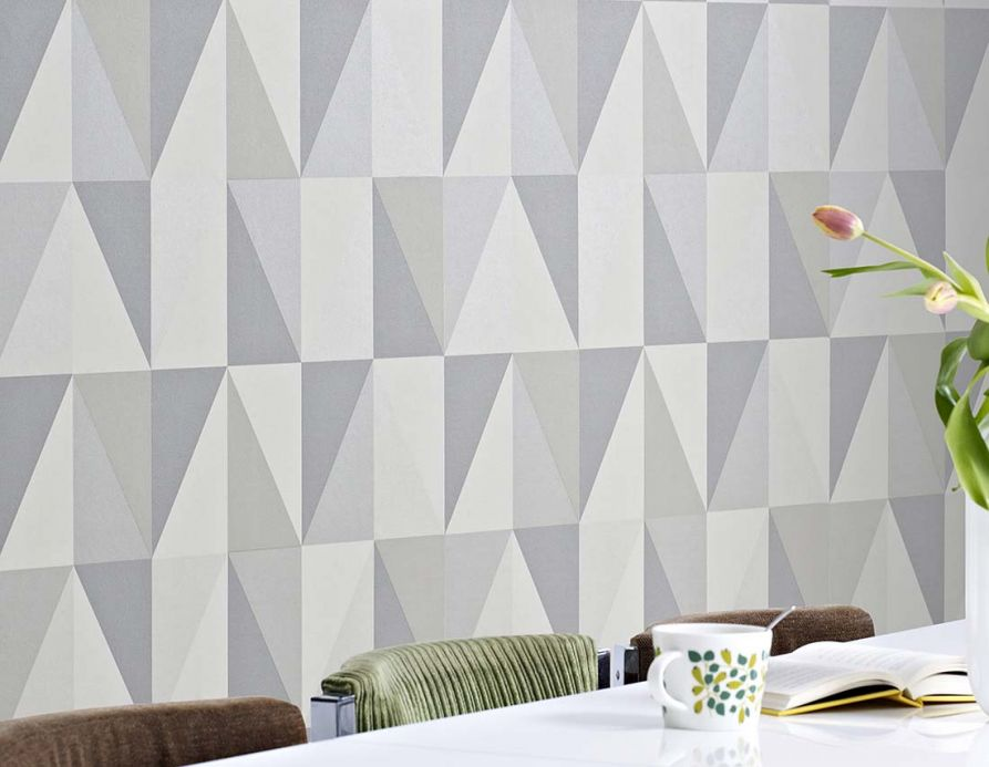 Bauhaus Wallpaper Wallpaper Lenus platinum grey Room View