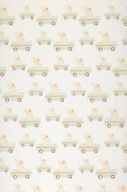 Wallpaper Bunny race Matt Rabbits Toy cars White Brown Brown white Orange Pastel green