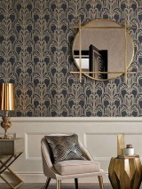 Wallpaper Emilia Shimmering pattern Matt base surface Art Deco Champagne Fountains Anthracite Matt gold