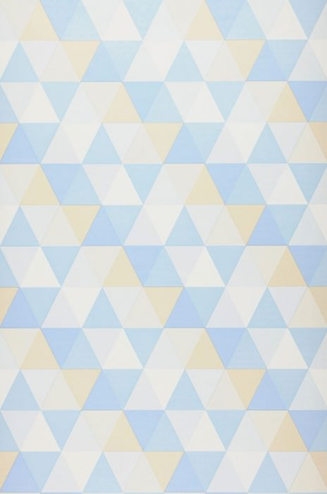 Wallpaper Tamesis Matt Triangles Beige Pale blue Cream Light blue