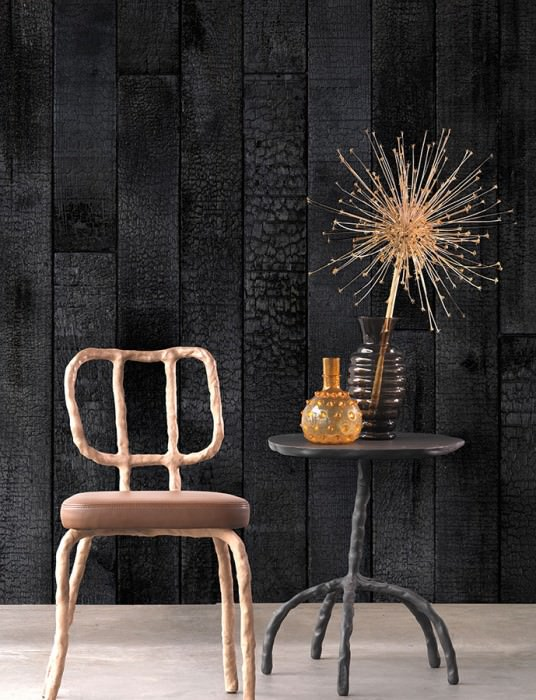 Wallpaper Scrapwood 35 Matt Burnt wooden planks Black Black brown Black grey