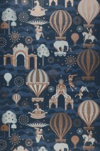 Wallpaper Rosi Matt Trees Fireworks Hot-air balloons Horses Clouds Circus performers Big Top Dark blue Grey white Rosewood shimmer Pigeon blue