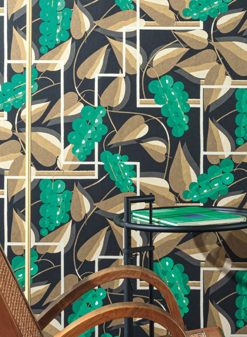 Papel pintado Art Decó Papel pintado Genevieve verde Ver habitación