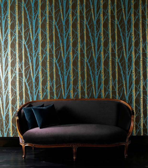 Papel de parede Diomedes Padrão brilhante Superfície base mate Árvores Marrom acinzentado Ouro Turquesa pérola lustre