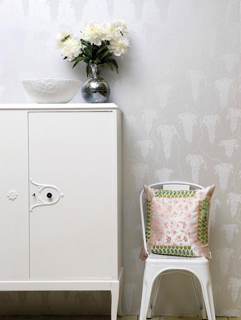 tapete deia weissaluminium grauweiss tapeten der 70er. Black Bedroom Furniture Sets. Home Design Ideas