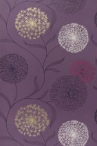 Wallpaper Ganesha Matt Flowers Dark violet Claret violet Cream Pearl gold