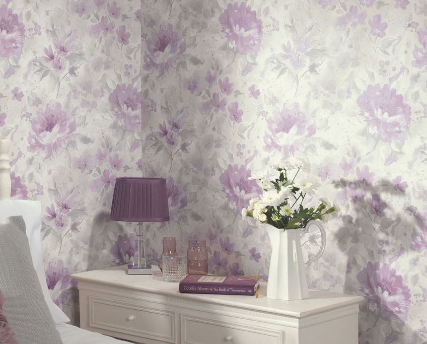 Archiv Wallpaper Charlaise pastel violet Room View