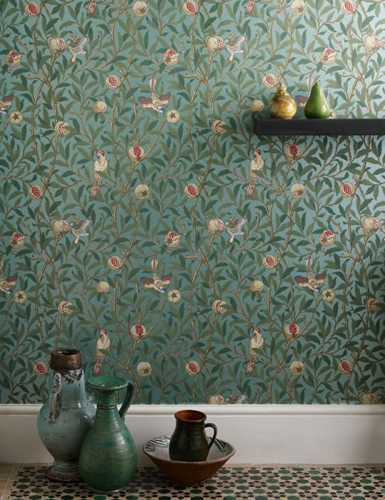 Wallpaper Jakobine Matt pattern Shimmering base surface Leaf tendrils Fruits Birds Pastel turquoise pearl lustre Pale green Brown Cream Light pastel green Petrol Crimson red