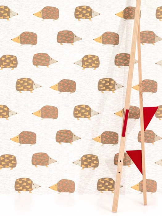 Papel de parede Hoglet Parade Mate Ouriços Pontos pequenos Branco creme Marrom pálido Branco acinzentado Amarelo mel Laranja avermelhado