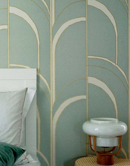 Art Deco Wallpaper Wallpaper Arches light mint turquoise Room View