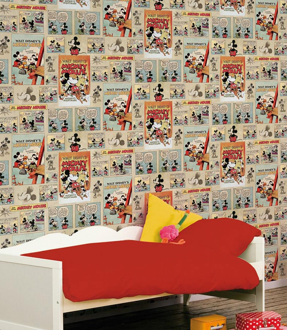 Mickey Mouse Bedroom Wallpaper 1930s Mickey Mouse Light Grey Beige Anthracite Light Blue