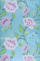 Wallpaper Forseti Hand printed look Matt Flowers Light blue Pale violet Green Turquoise