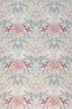 Papel de parede Lovisa Mate Folhas Flores Frutos Damasco histórico Branco creme Azul pálido Cinza Branco rosado Vermelho vinho