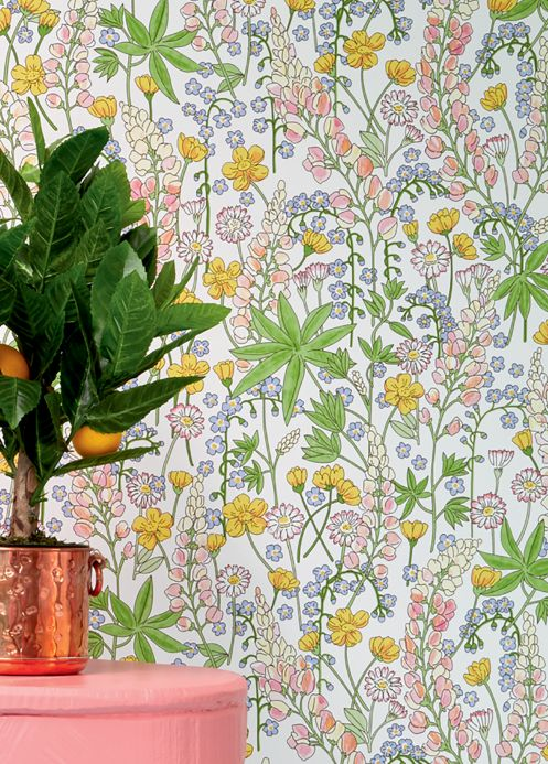 Floral Wallpaper Wallpaper Cybill white Room View