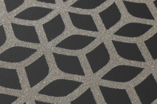 Wallpaper Zelor Shimmering pattern Matt base surface Geometrical elements Black Silver grey shimmer