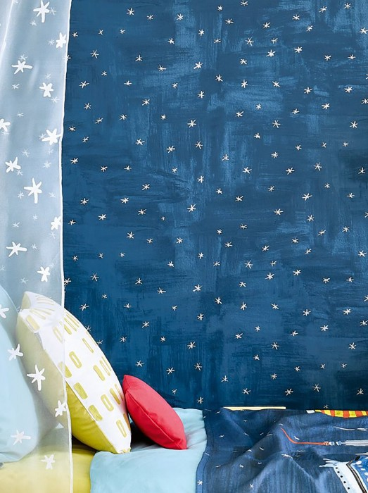 Wallpaper Habin Shimmering pattern Matt base surface Stars Shades of blue Silver