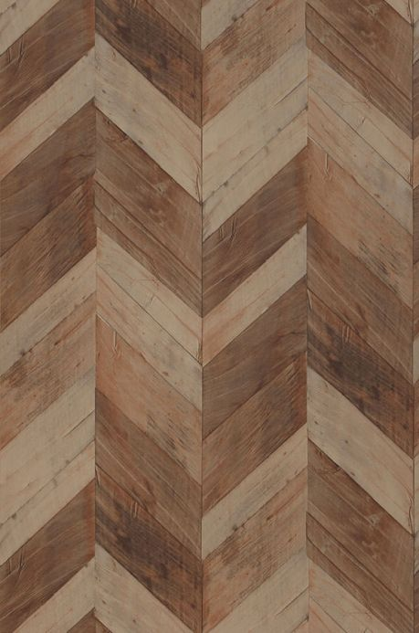 Archiv Wallpaper Wood Herringbone brown tones Roll Width