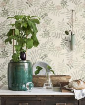Wallpaper Gelja Matt Leaf tendrils Blossoms Grey white Beige brown Shades of green