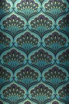 Carta da parati Perdula Brillante Damasco floreale Blu turchese Viola scuro  Beige verdastro Nero