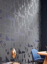 Papel pintado Otavio Patrón brillante Superficie base mate Art Deco Elementos geométricos Gris cuarzo Azul cobalto brillante Naranja perla