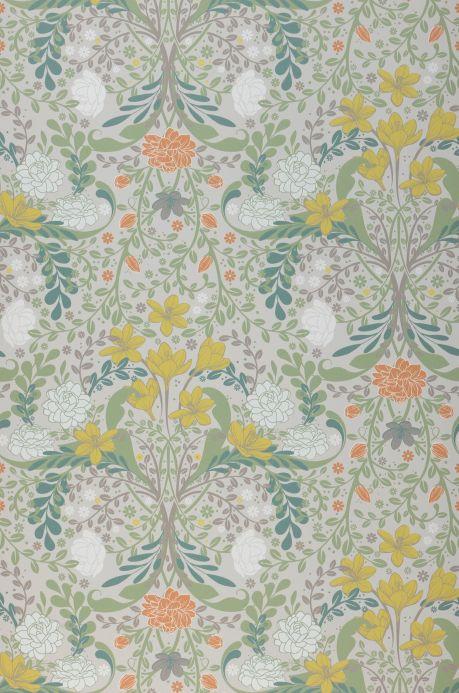 Papel de parede floral Papel de parede Kristina branco acinzentado Bahnbreite
