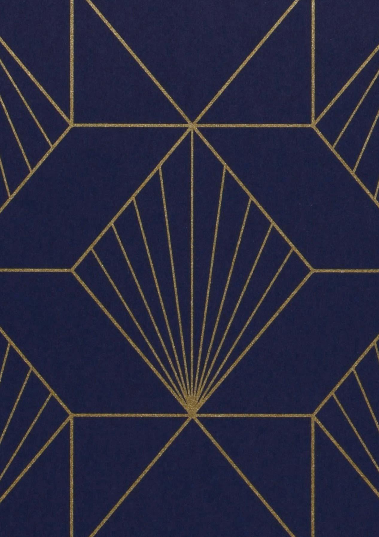 maurus bleu nuit dor papier peint g om trique motifs du papier peint papier peint des. Black Bedroom Furniture Sets. Home Design Ideas